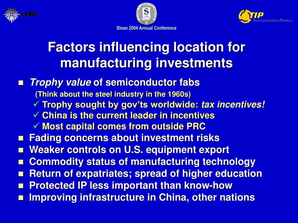 Factors influencing location for