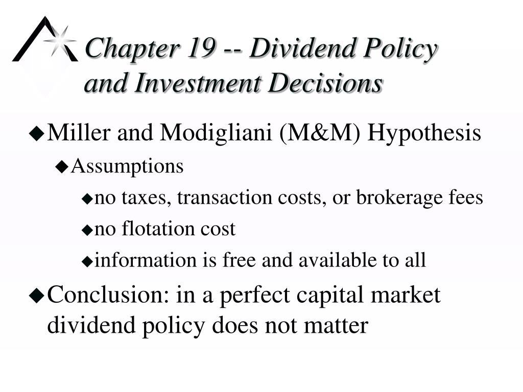 chapter 19 dividend policy and investment decisions l.