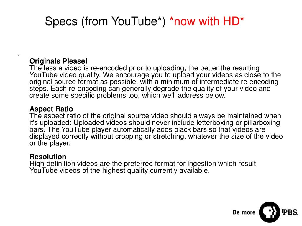 Specs (from YouTube*)