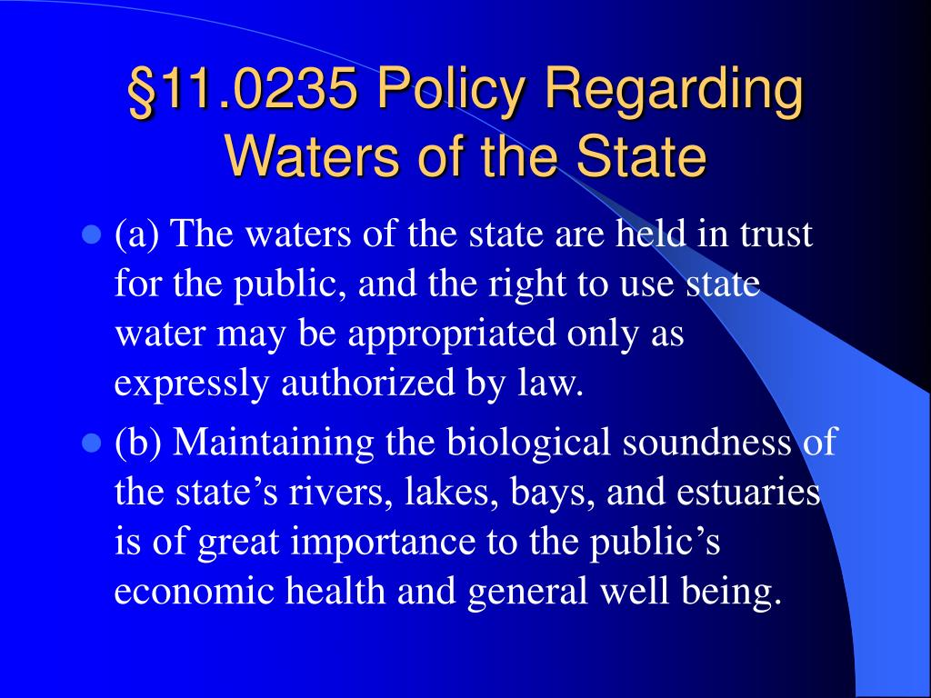 §11.0235 Policy Regarding Waters of the State