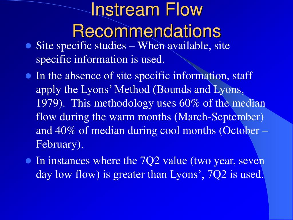 Instream Flow Recommendations
