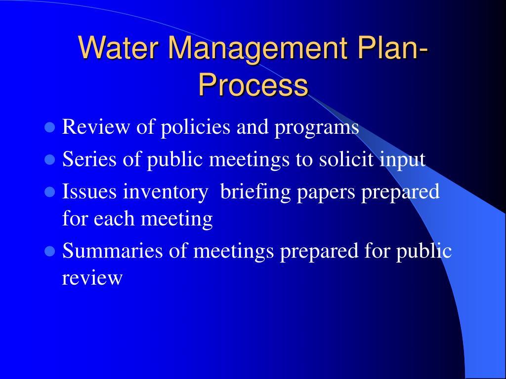 Water Management Plan-Process
