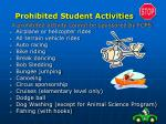 prohibited student activities