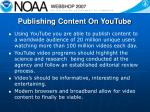 publishing content on youtube