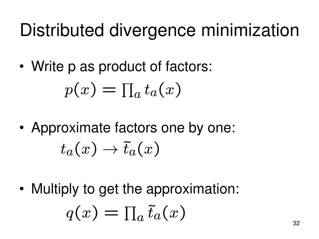 Distributed divergence minimization