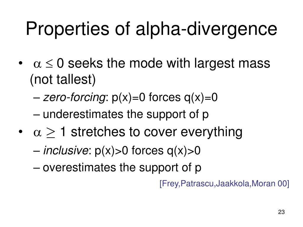 Properties of alpha-divergence