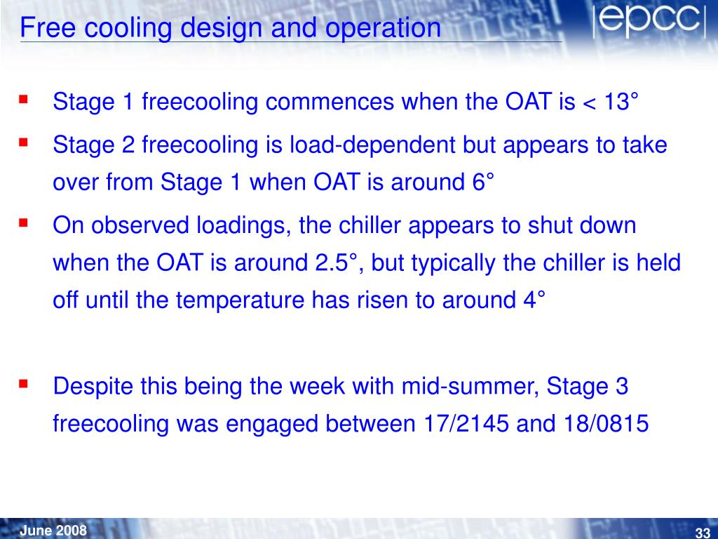 Free cooling design and operation