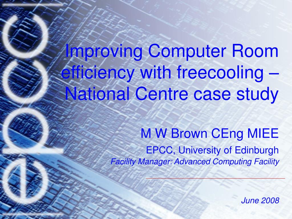 Improving Computer Room efficiency with freecooling – National Centre case study
