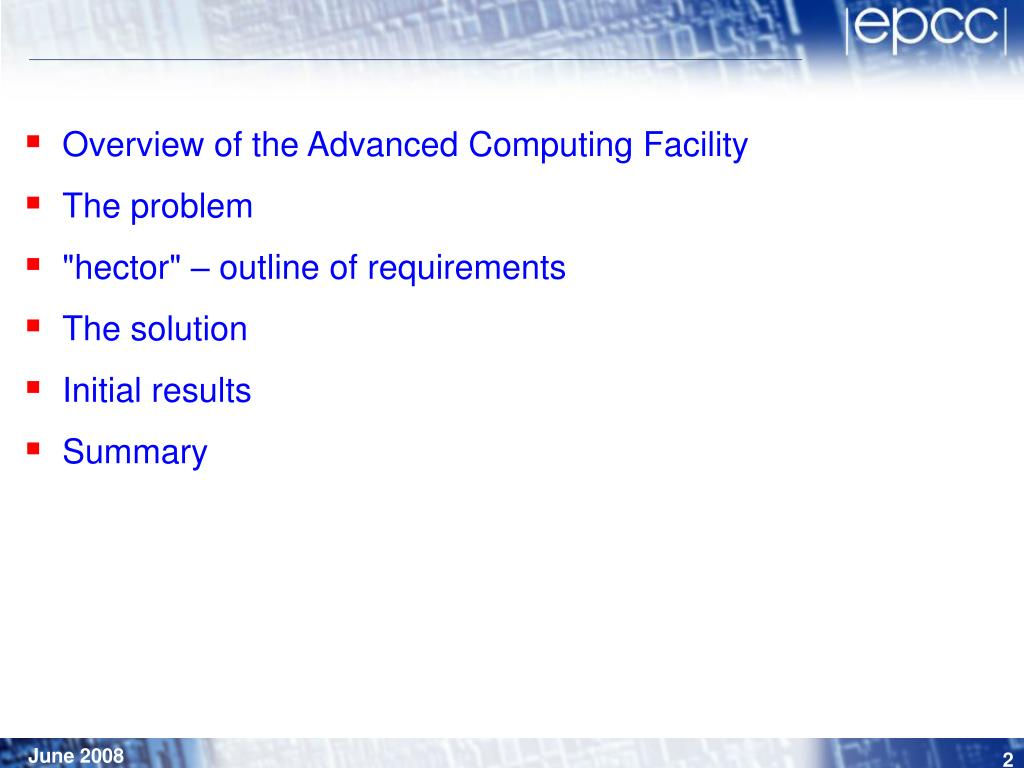 Overview of the Advanced Computing Facility