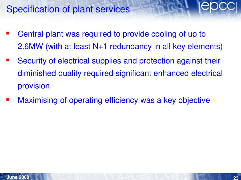 Specification of plant services