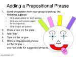 adding a prepositional phrase