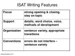 isat writing features
