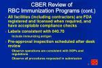 cber review of rbc immunization programs cont