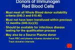 donors of immunogen red blood cells