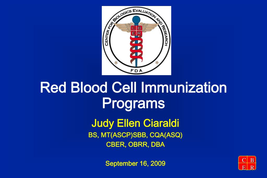 red blood cell immunization programs l.
