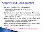 security and good practice