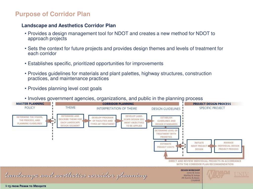 Purpose of Corridor Plan