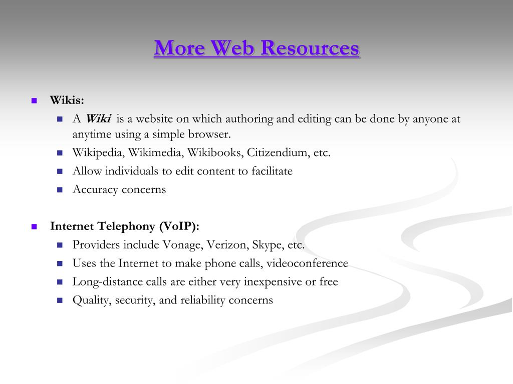 More Web Resources