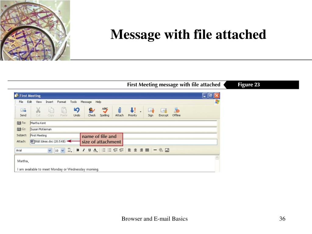 Message with file attached