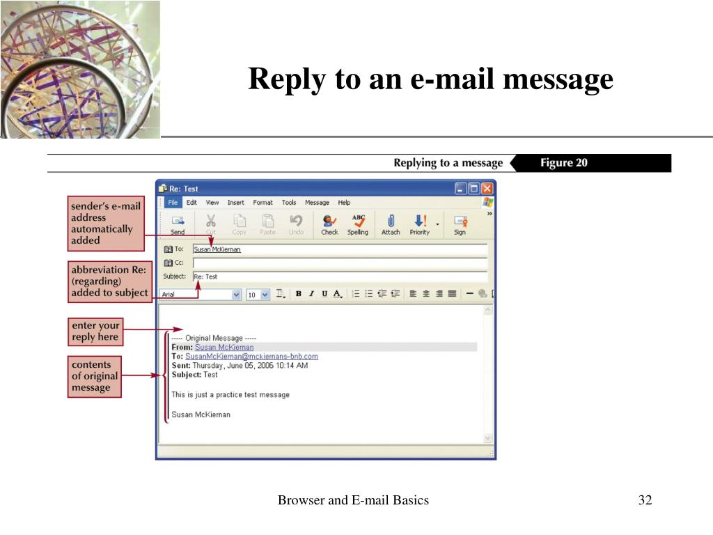 Reply to an e-mail message