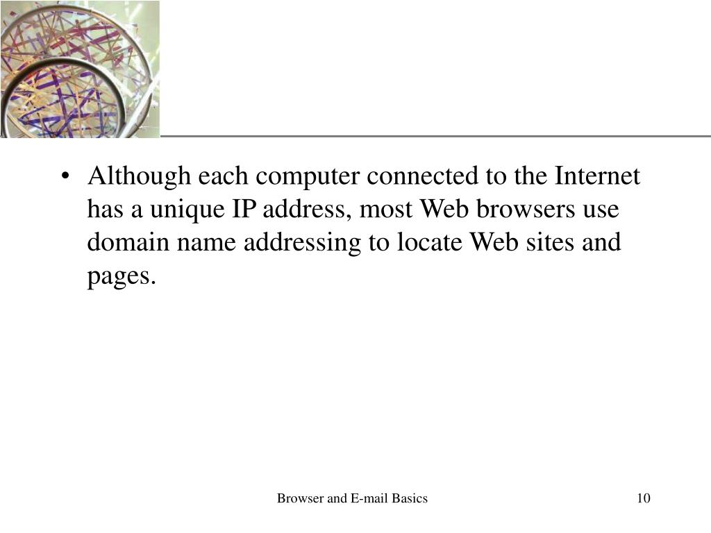 Although each computer connected to the Internet has a unique IP address, most Web browsers use domain name addressing to locate Web sites and pages.