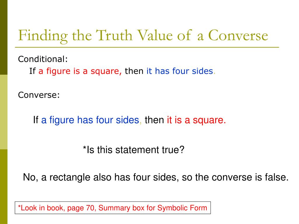 Finding the Truth Value of a Converse