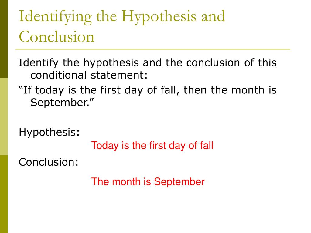 Identifying the Hypothesis and Conclusion