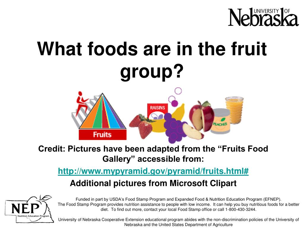 what foods are in the fruit group l.