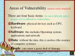 areas of vulnerability means easily attacked