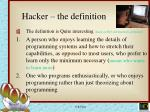 hacker the definition