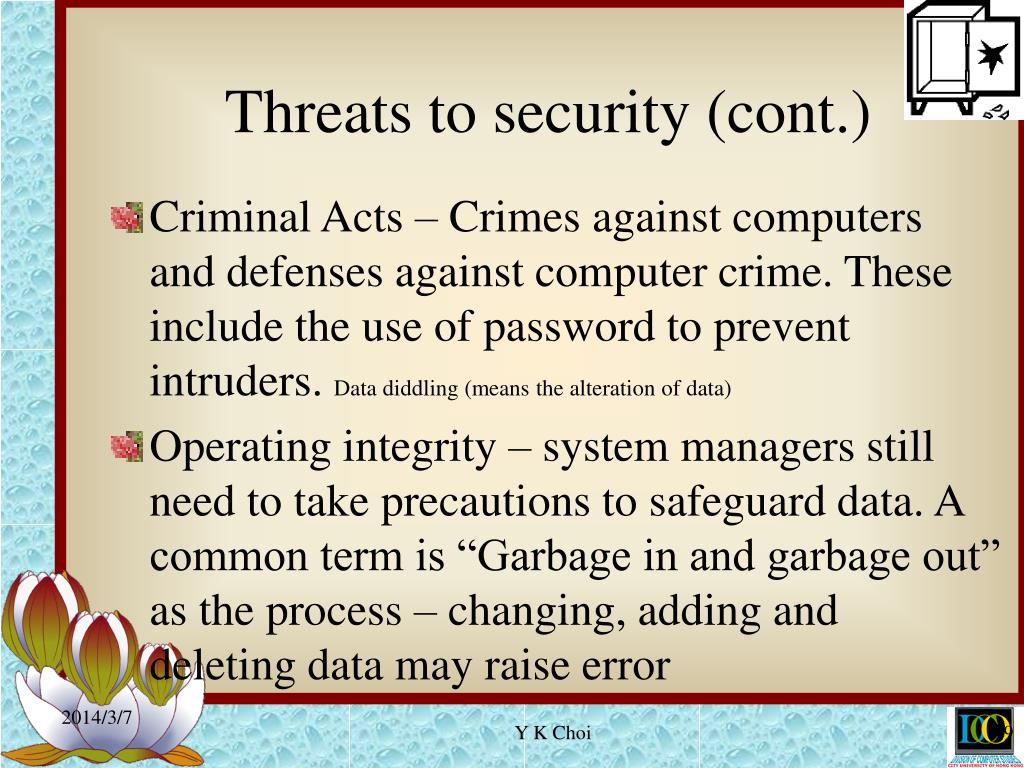 Threats to security (cont.)