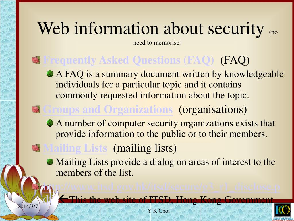 Web information about security