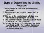 steps for determining the limiting reactant