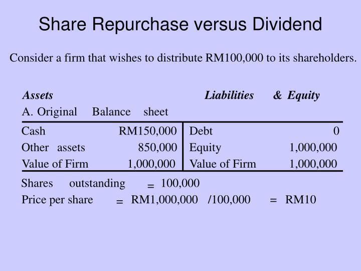 Liquidating dividend formulation