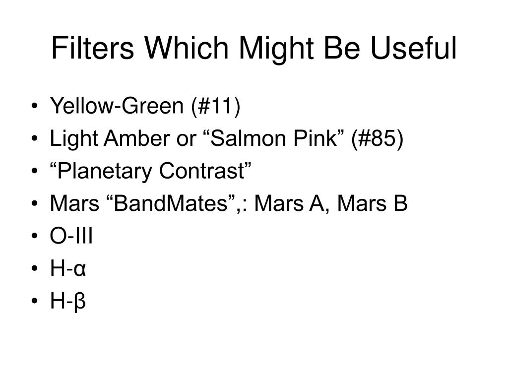 Filters Which Might Be Useful