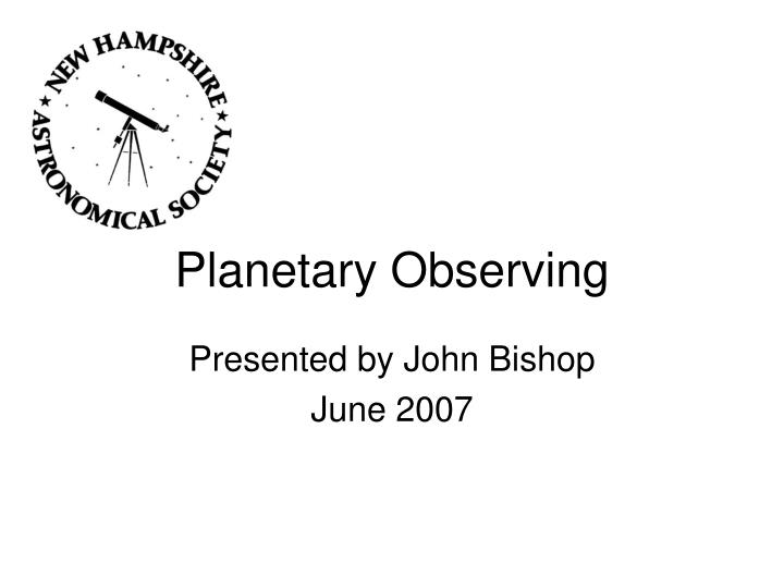 Planetary observing