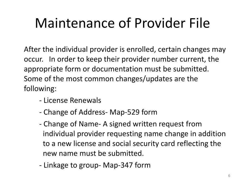 Maintenance of Provider File