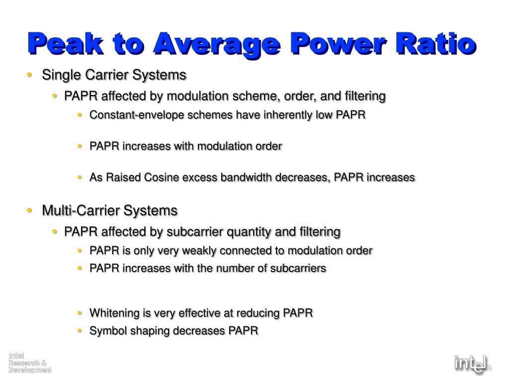 Peak to Average Power Ratio