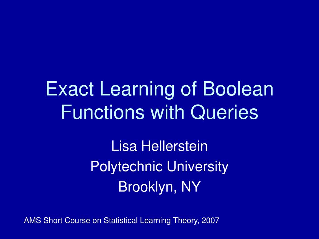 exact learning of boolean functions with queries l.