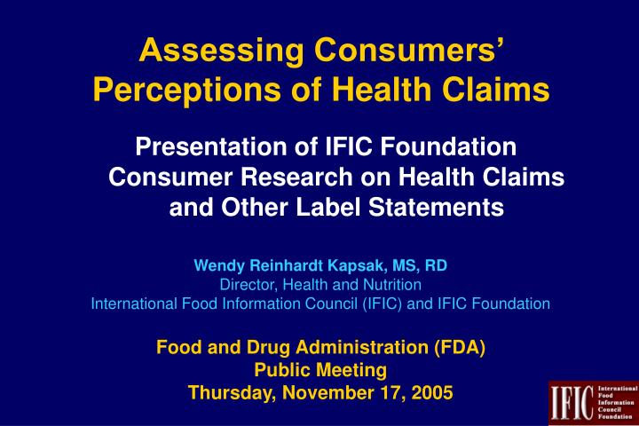assessing consumers perceptions of health claims n.
