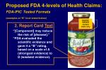 proposed fda 4 levels of health claims fda ific tested formats examples at b level stated below12