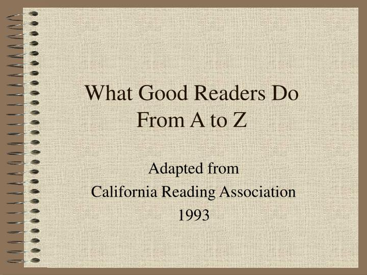 what good readers do from a to z n.