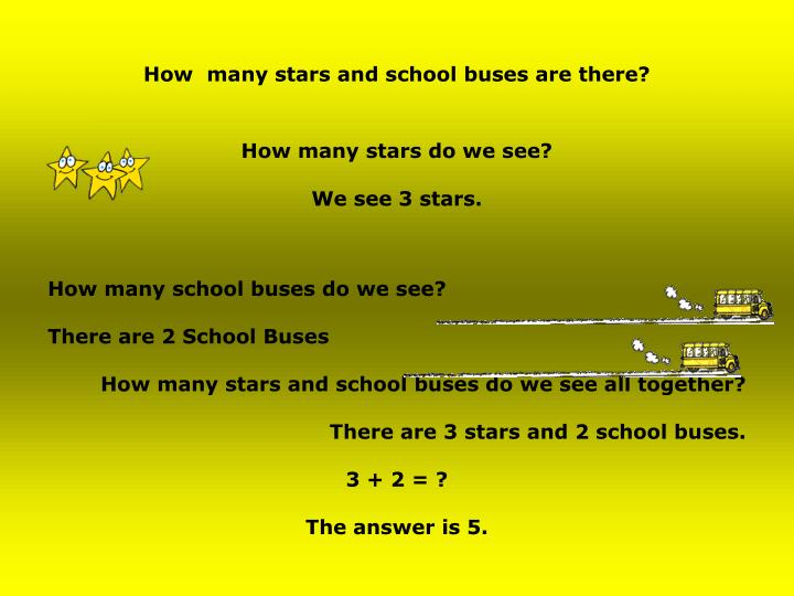 How  many stars and school buses are there?