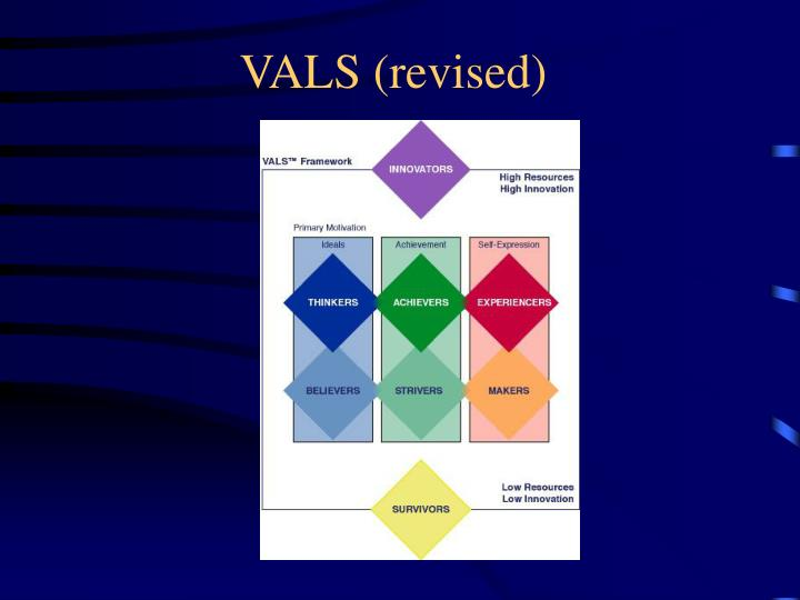 vals framework The vals framework the x axis consisted of primary motivation (explained below) and the y axis consisted of resources such as income, education, confidence etc thus these two factors were determined to be critical to define the values attitude and lifestyle of any consumer.