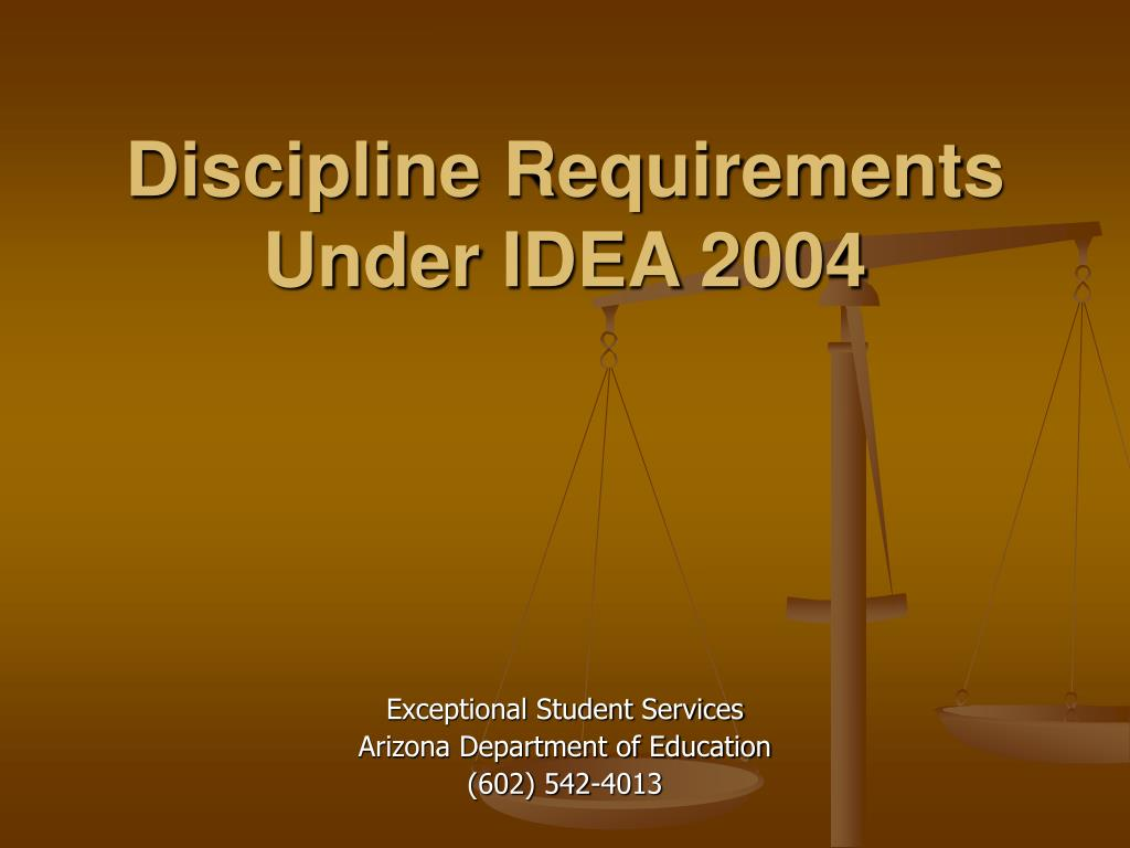discipline requirements under idea 2004 l.