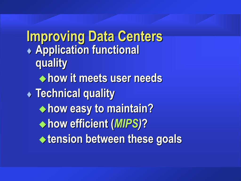 Improving Data Centers