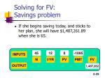 solving for fv savings problem