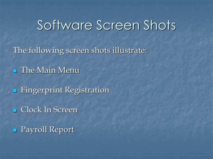 Software Screen Shots