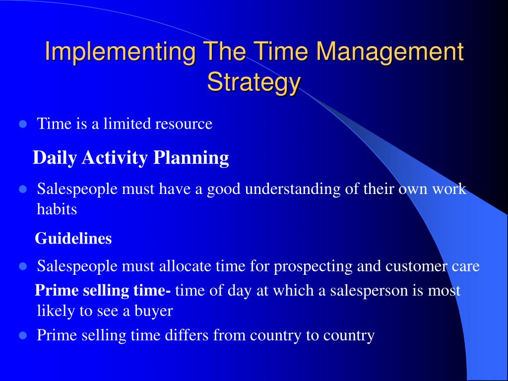 Implementing The Time Management Strategy