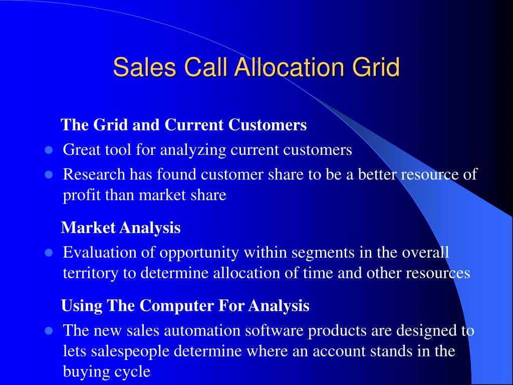 Sales Call Allocation Grid